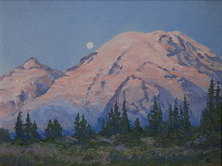 painting of setting moon beside mountains