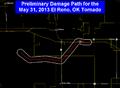 May 31, 2013 Preliminary El Reno, Oklahoma tornado track.png