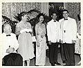 Mayor John F. Collins; Kate Furedo; Sirikit Kitiyakara, Queen of Thailand; Bhumibol Adulyadej, King of Thailand; an unidentified man (12306921343).jpg