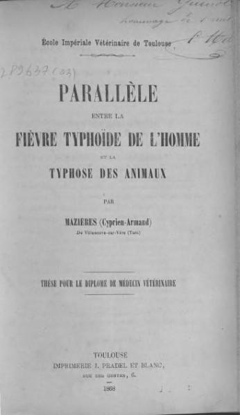 File:Mazières - Parallèle entre la fièvre typhoïde de l'homme et la thyphose des animaux.djvu