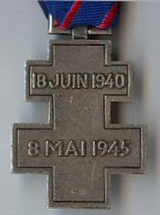 Commemorative medal for voluntary service in Free France - Reverse of the French Commemorative medal for voluntary service in Free France (1946)