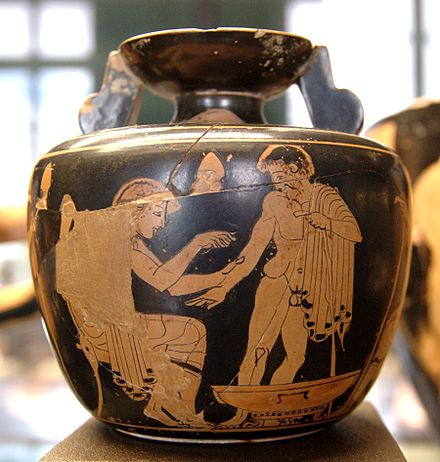 Physician in Ancient Greece treating a patient 480-470 BC Medicine aryballos Louvre CA1989-2183.jpg