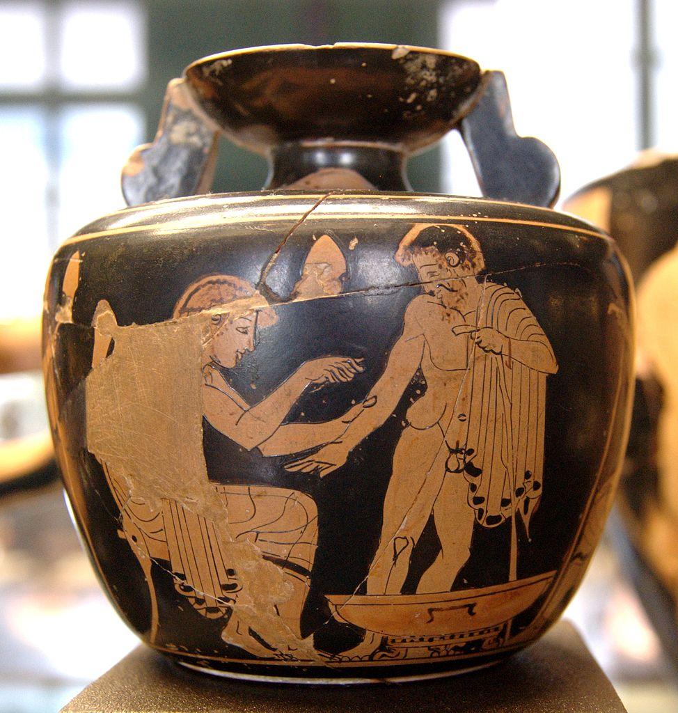 Aríbalo ático de figuras rojas (480-470 a. C.), Museo del Louvre