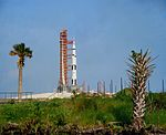 Medium distance view of Apollo 10 at Launch Complex 39 pad 39B.jpg