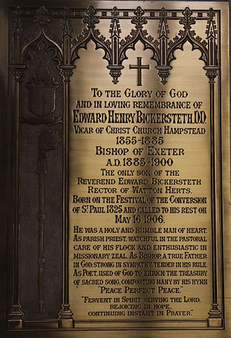 Edward Bickersteth (bishop of Exeter) - Memorial in Exeter Cathedral