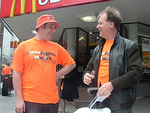 "WorkChoices - ""Your Rights at Work"" is the name of a campaign launched by the Australian labour movement since the introduction of Work Choices, resulting in widespread coverage through mass protest rallies."