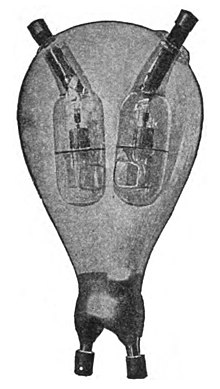One of the first mercury arc bulbs built by Cooper Hewitt Mercury arc rectifier bulb.jpg