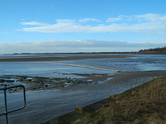 River Mersey - The tidal bore, seen from near the Silver Jubilee Bridge, Widnes.