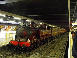 Moorgate station - A heritage Metropolitan steam train at Moorgate station in 2014