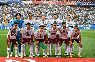 Mexico national football team - Mexico lining up prior to the group stage match against South Korea at the 2018 FIFA World Cup.
