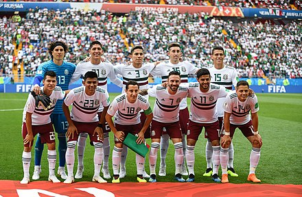 Mexico lining up prior to the group stage match against South Korea at the 2018 FIFA World Cup. Mex-Kor (9).jpg
