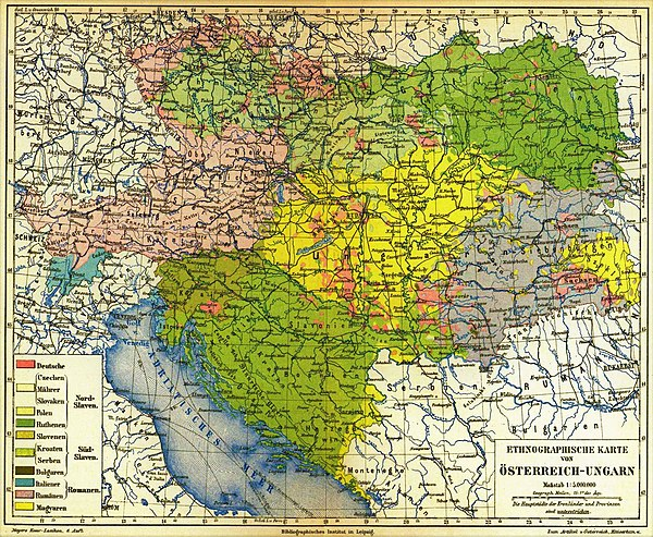 Meyers Konversations-Lexikon ethnographic map of Austria-Hungary, 1885 Meyers b12 s0486a.jpg