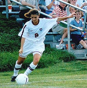 Hermann Trophy - Two-time Hermann Trophy recipient Mia Hamm (1992–93) during a United States women's national soccer team match (date unknown)