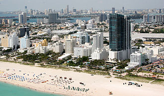 Miami Beach, Florida - Southern portion of Miami Beach with downtown Miami in background