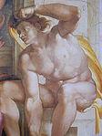 Michelangelo Sistine Chapel ceiling- Creation of man Ignudo1.JPG