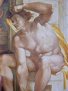 Michelangelo Sistine Chapel ceiling- Creation of man Ignudo1