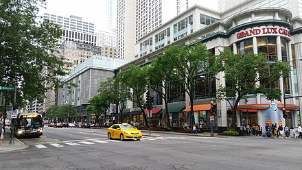 The Magnificent Mile hosts numerous upscale stores, as well as landmarks like the Chicago Water Tower Michigan Avenue - Chicago.jpg