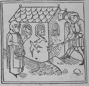 Incubator in Middle Ages. From the engraving o...