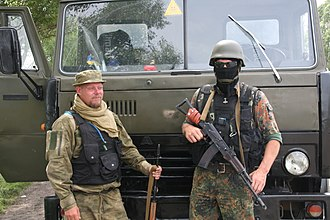 "Azov Battalion - Swedish Azov volunteers Mikael Skillt and ""Mikola""."