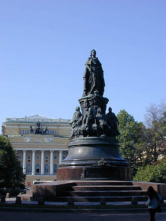 Russian Enlightenment - Mikeshin's Monument to Catherine the Great before the Alexandrine Theatre in St. Petersburg