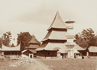 Spread of Islam in Indonesia -  Mosque in West Sumatra with traditional Minangkabau architecture