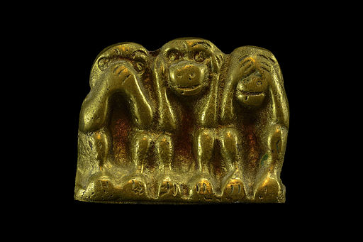 Miniature brass sculpture of three monkeys