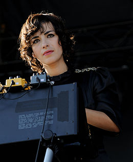 Mira looking out from the stage at Ottawa Bluesfest in 2008