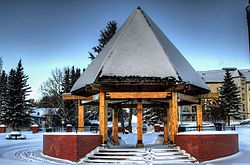 The pavilion in the Mirror Lake Park in Camrose