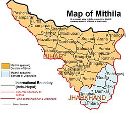 Map of Mithila in India