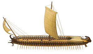 Foresail - Model of ancient Greek trireme with raked foresail, called artemon