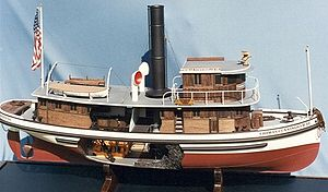 Tuff-E-Nuff (tugboat) - Image: Model starboard and cut away of Thomas Cunningham Sr