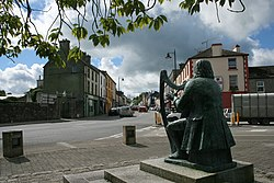 Statue of the blind harpist Turlough O'Carolan in Mohill