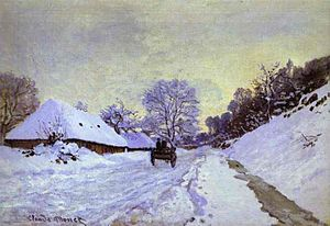 The Magpie (Monet) - A Cart on the Snowy Road at Honfleur (1865 or 1867), Monet's first snowscape.