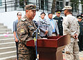 Mongolian Armed Forces (MAF) Maj. Gen. B. Bayarmagnai, left, the deputy chief of general staff for the MAF, speaks during a ribbon-cutting ceremony for a newly renovated school in Ulaanbaatar, Mongolia, Aug. 13 130813-M-MG222-004.jpg