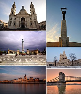Clockwise from top left: St. Stephen's Basilica, Liberty Statue on Gellért Hill, Fisherman's Bastion, Széchenyi Chain Bridge, Hungarian Parliament and Heroes' Square