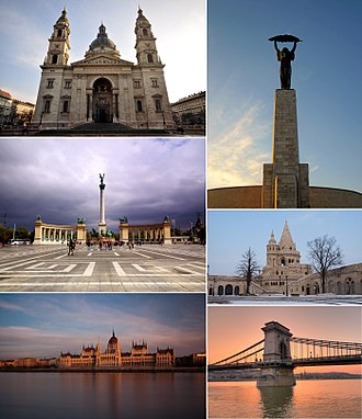 Budapest - Clockwise from top left: St. Stephen's Basilica, Liberty Statue on Gellért Hill, Fisherman's Bastion, Széchenyi Chain Bridge, Hungarian Parliament and Heroes' Square