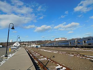 Montauk (LIRR station) - The station depot and yard at Montauk in March 2017