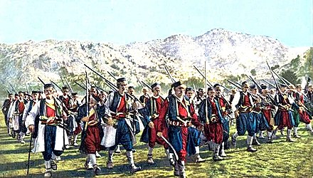 Warriors from Chevo clan marching to battle. Montenegrins from Chevo clan march to battle.jpg