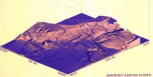 Offshore geotechnical engineering - A 3-D image of the Monterey Canyon system, an example of what can be obtained from multibeam echosounders.