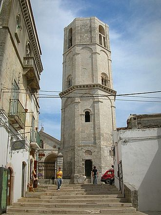 Sanctuary of Monte Sant'Angelo - The octagonal tower (campanile) of the Sanctuary of San Michele Arcangelo.