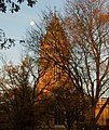 Morning sun, full moon, and Rugby School chapel tower - geograph.org.uk - 1567880.jpg