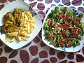 Moroccan green salad and chicken wings.jpg