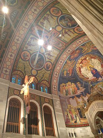 Rosary Cathedral (Toledo, Ohio) -   The mosaic depicted of the cruxifiction above the Altar .