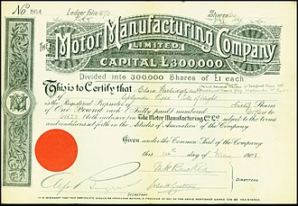 Motor Manufacturing Company - Share of the Motor Manufacturing Company, issued 14. May 1901