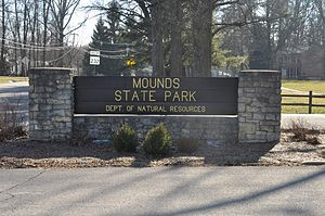 Mounds State Park - Mounds State Park entrance sign.