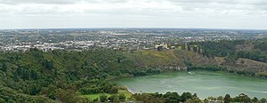 Mount Gambier, South Australia - View north across Valley Lake and Marist Park to the eastern urban area of Mount Gambier from Centenary Tower