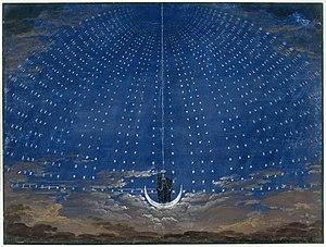 Karl Friedrich Schinkel Apparizione della Regina della notte. Gouache per una scenografia (1815) de Il flauto magico