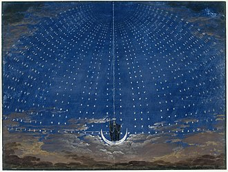 The Magic Flute - The arrival of the Queen of the Night. Stage set by Karl Friedrich Schinkel for an 1815 production