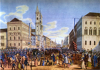 Ludwigstrasse - Ludwigstraße in 1842, state reception for Crown Princess Marie of Prussia
