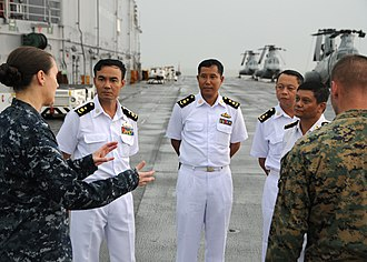 Myanmar Navy - Myanmar Navy officers tour USS Bonhomme Richard